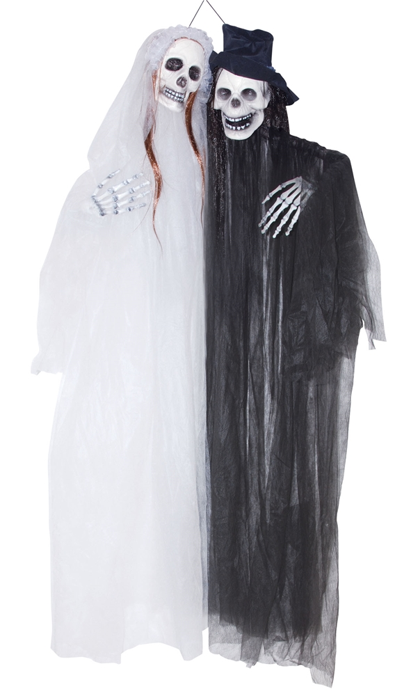 Hanging Conjoined Skeleton Couple Prop