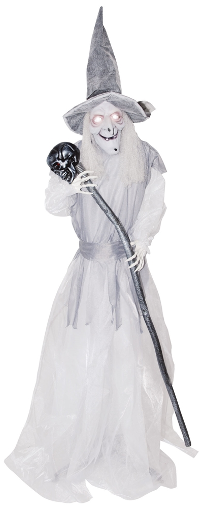 Standing Ghostly Witch with Staff Animated Prop