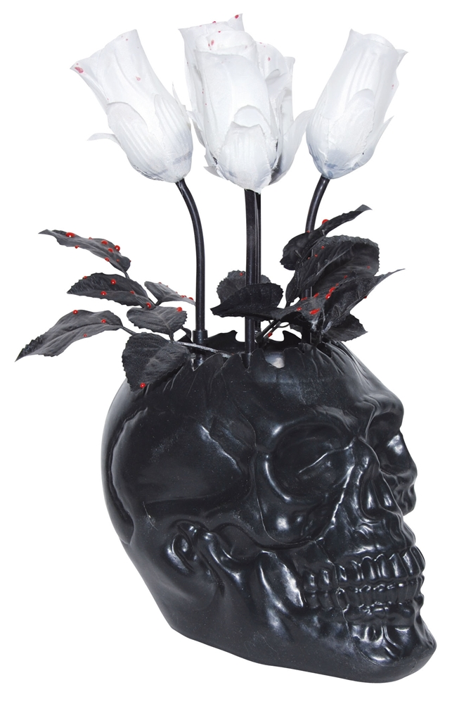 Animated Black Skull Vase with White Bloody Roses