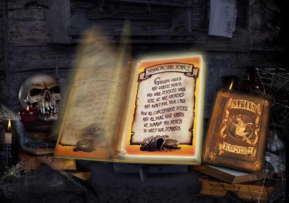 Animated Witch's Spell Book Prop
