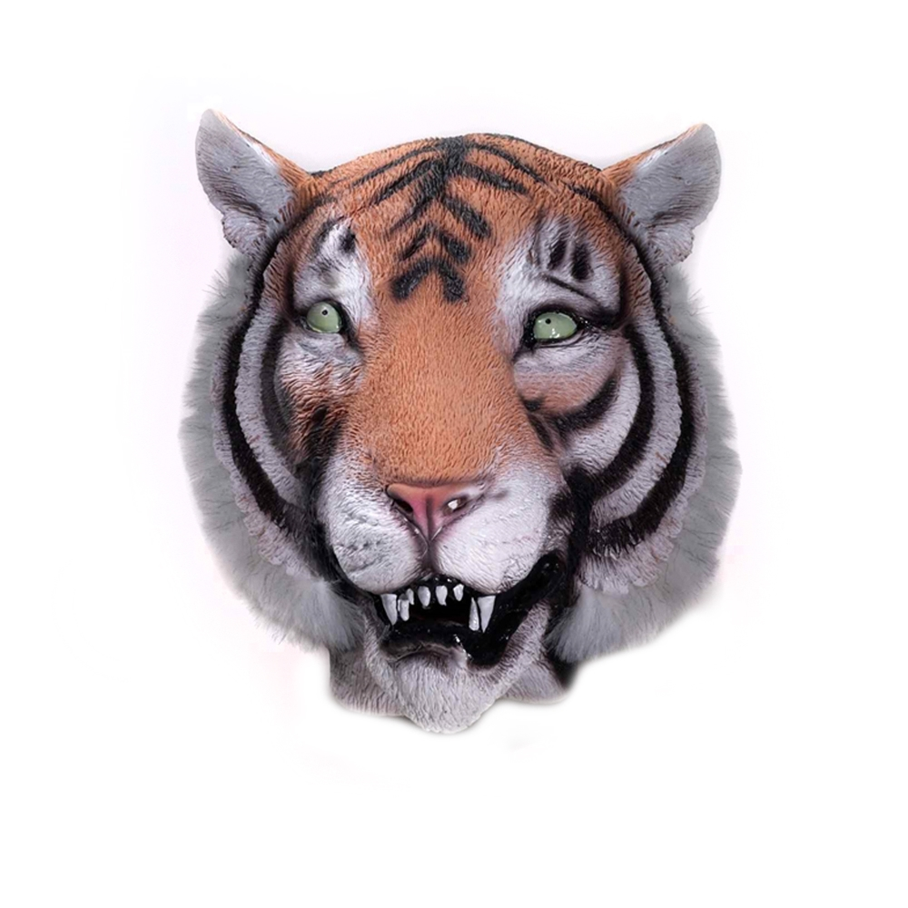 Tiger Deluxe Latex Mask with Hair