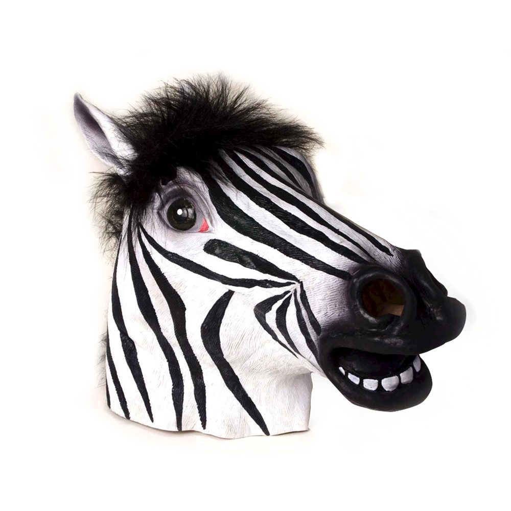 Zebra Deluxe Latex Mask with Hair