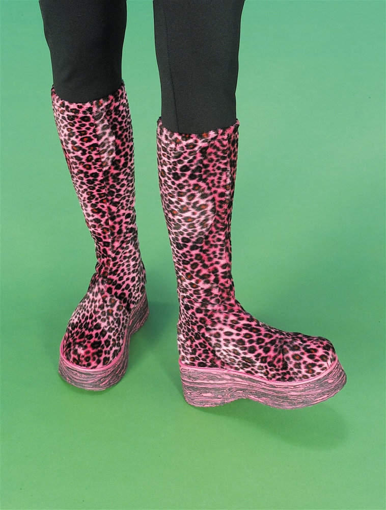 Groovy Pink Leopard Plush Boots