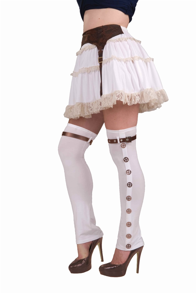 Steampunk Buckled White Spats