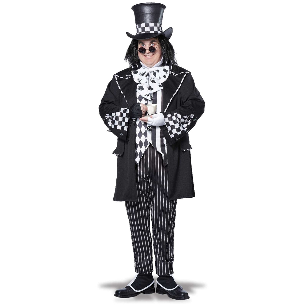 [Dark Mad Hatter Adult Mens Plus Size Costume] (Plus Size Dark Mad Hatter Costume)
