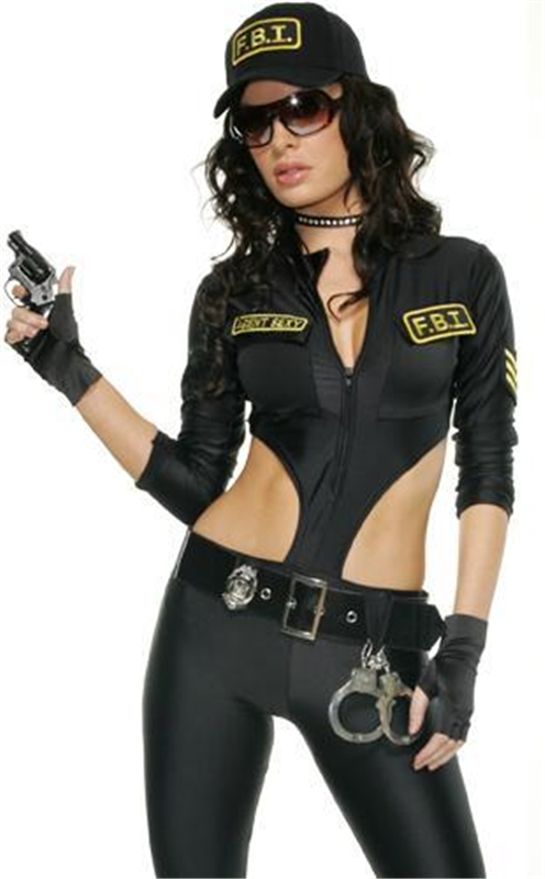 FBI Agent Sexy Catsuit Adult Womens Costume