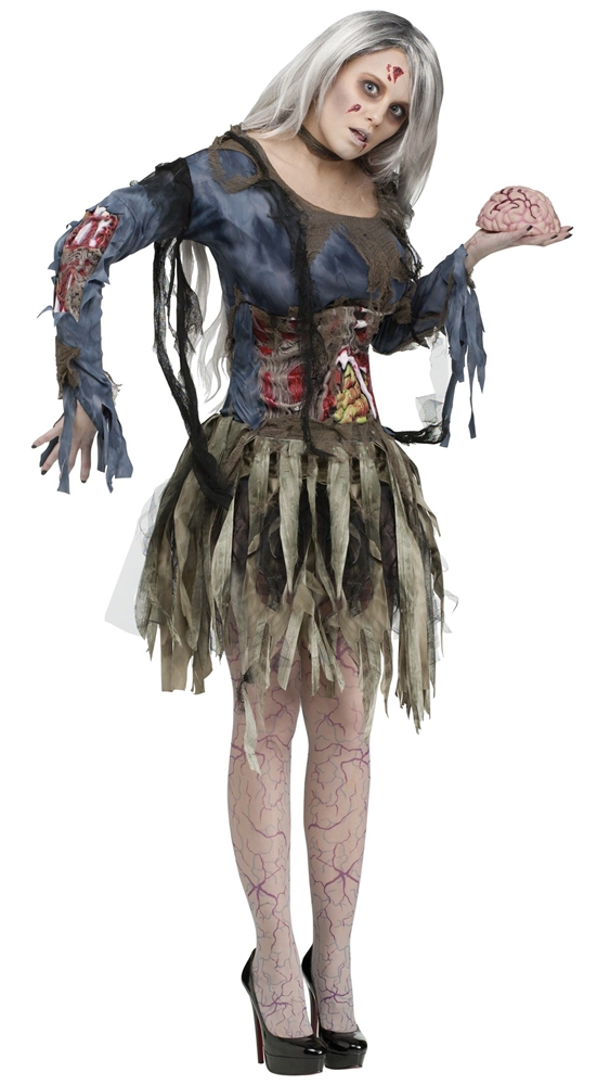 Zombie Adult Womens Costume with 3D Guts