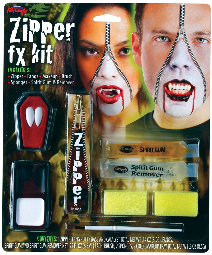 [Deluxe FX Zipper Vampire Makeup Kit] (Zipper Fx Kit)