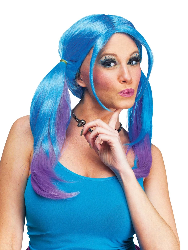 Ombre Blue & Purple Pigtail Wig