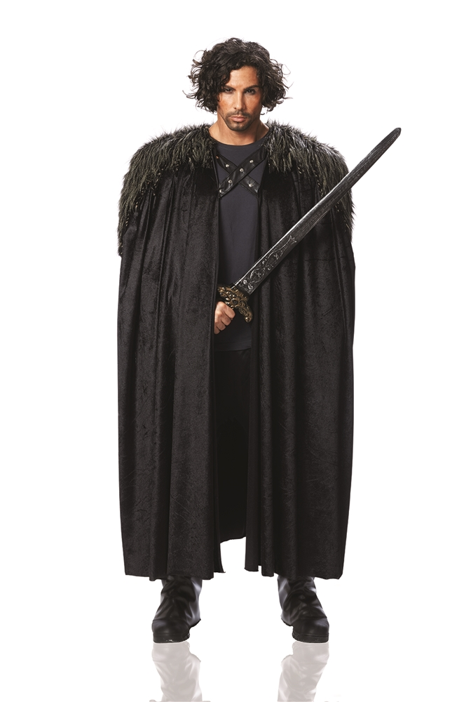 Black Medieval Cape with Fur
