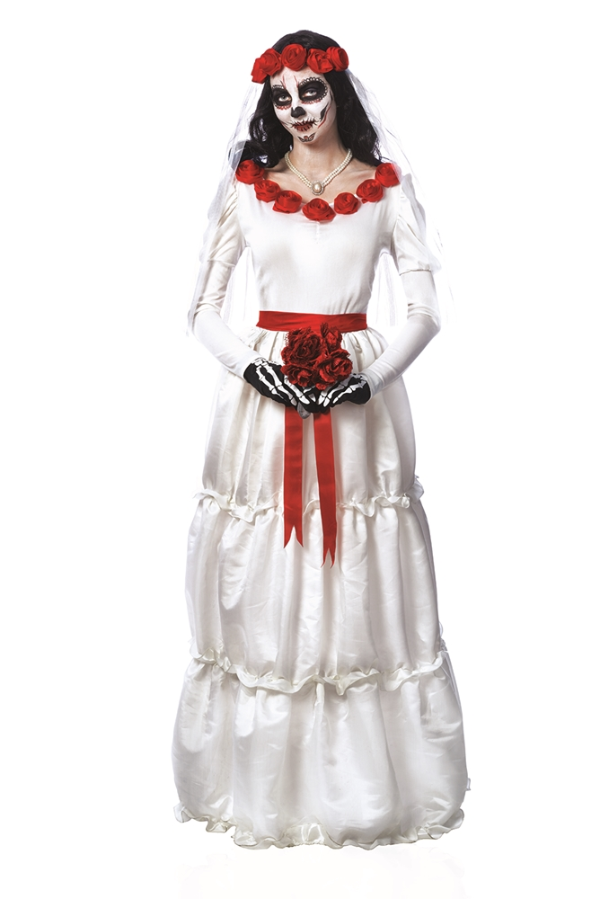 [Day of the Dead Bride Adult Womens Costume] (Womens Day Of The Dead Costume)
