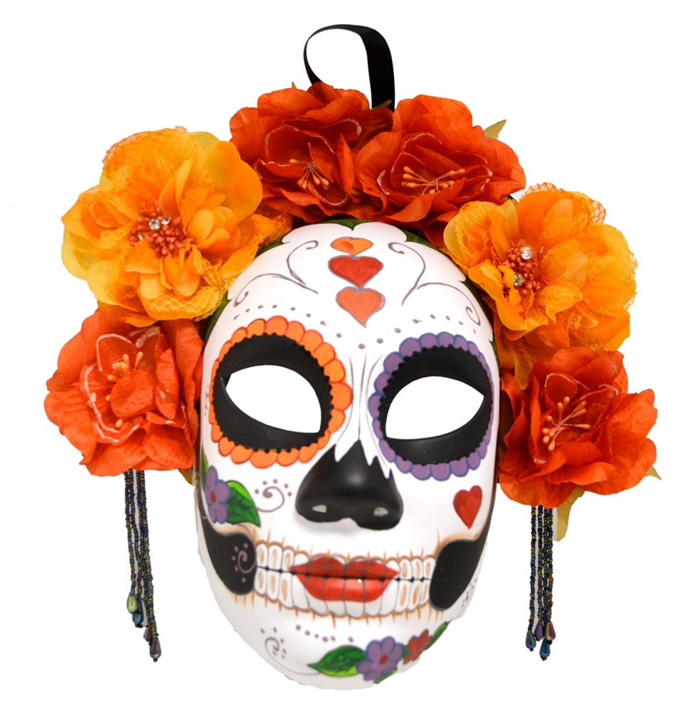 Day of the Dead Yellow & Orange Flowers Mask