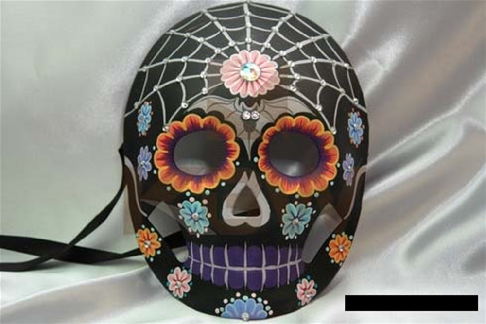 Black Day of the Dead Mask with Stones