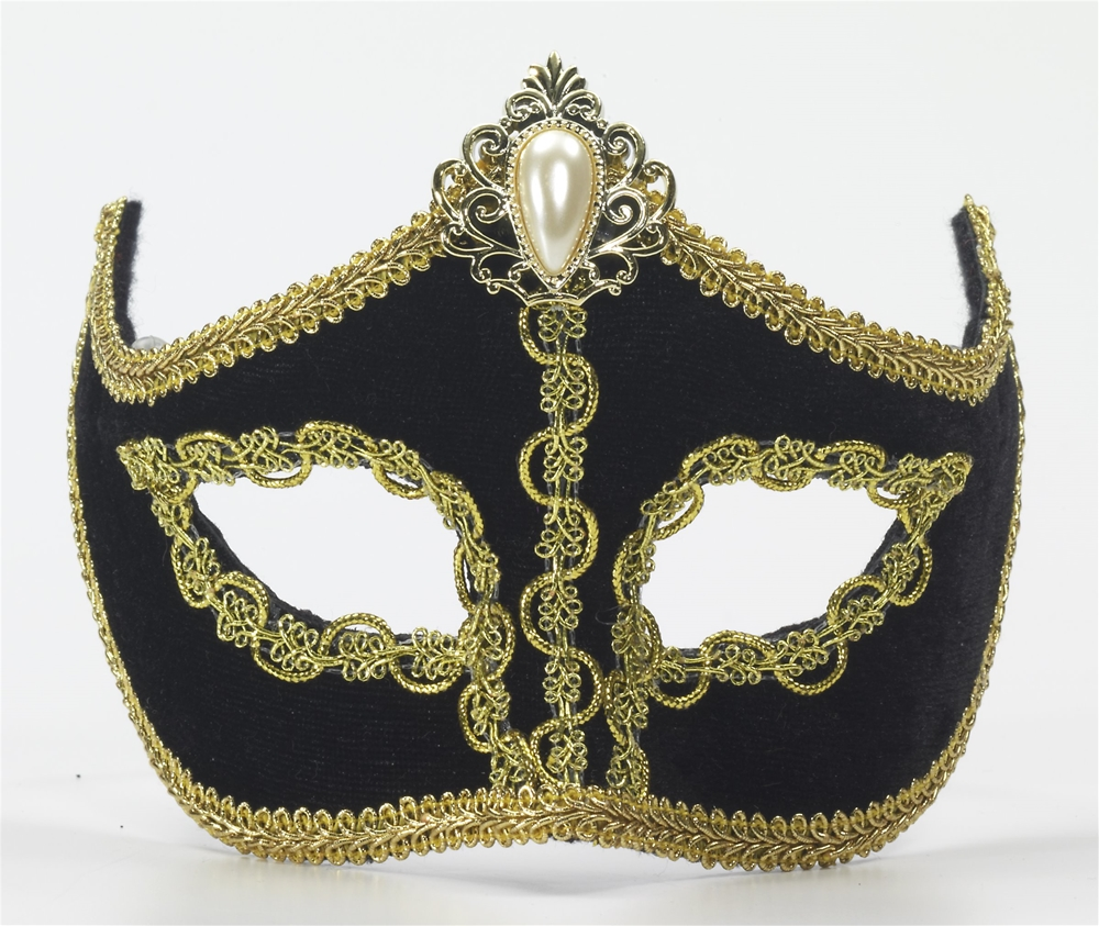 Black Venetian Mask with Comfort Arms