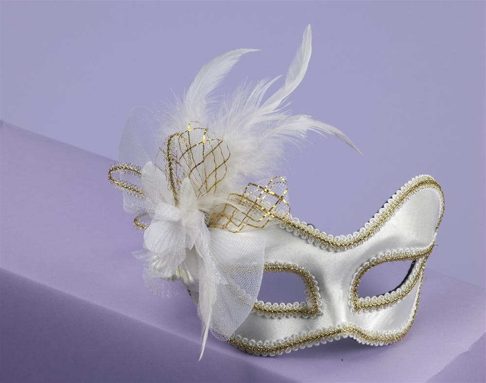 Satin Feathered Mask with Comfort Arms (More Colors)