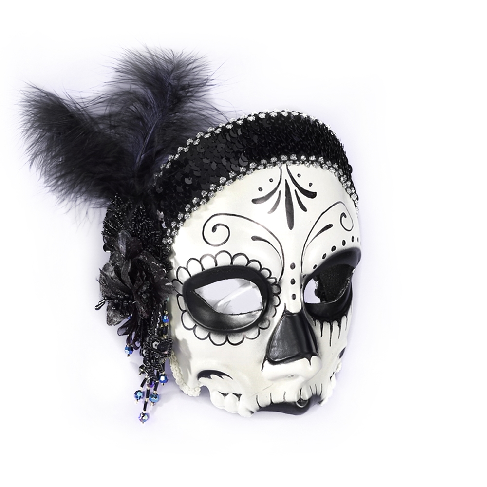[Day of the Dead Female Flapper Mask with Comfort Arms] (Day Of The Dead Female Mask)
