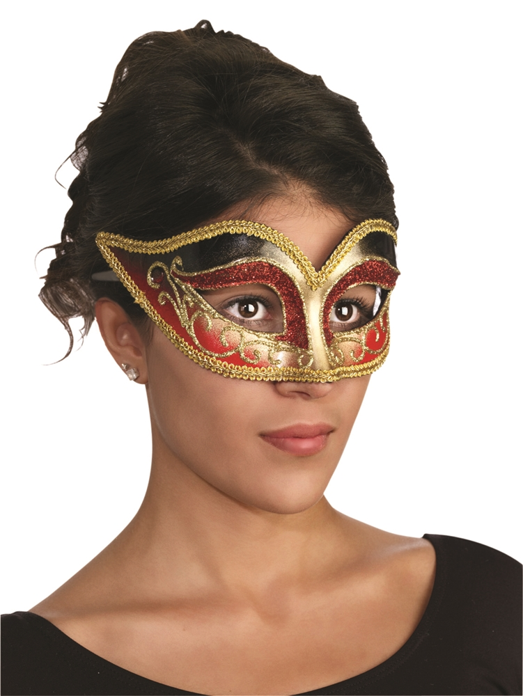 Black & Red Venetian Mask with Comfort Arms