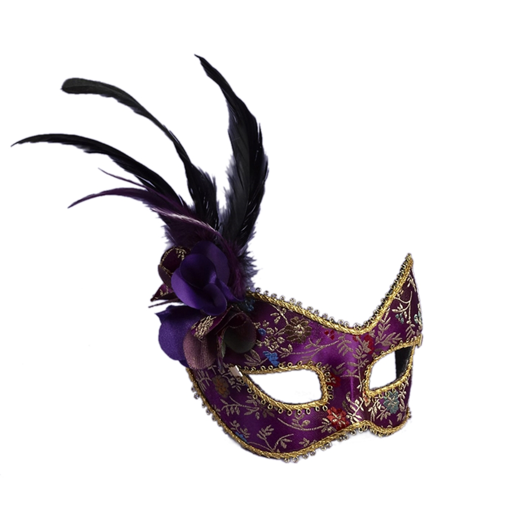 [Purple Feathered Mask with Comfort Arms] (Purple Feather Mask)