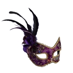 Purple-Feathered-Mask-with-Comfort-Arms