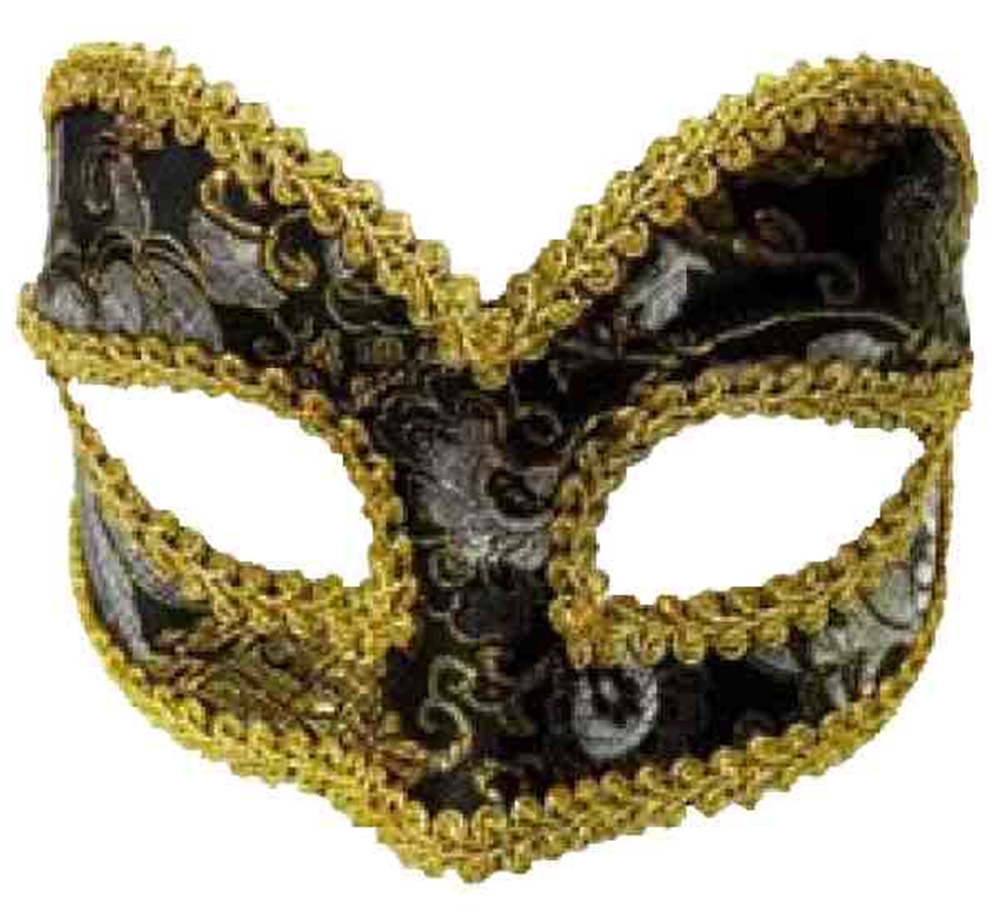 Image of Black & Gold Venetian Mask with Comfort Arms