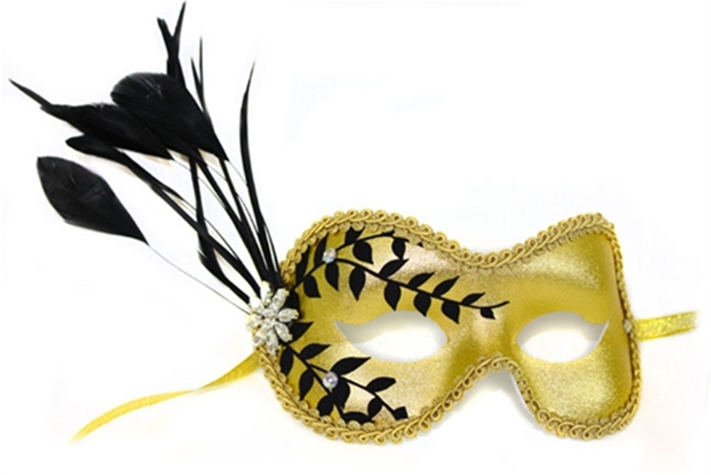 Laurel Feather & Rhinestone Mask