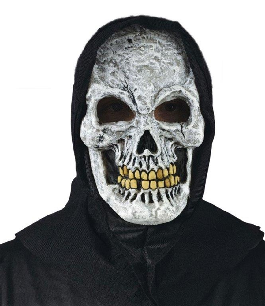 White Skull Hooded Mask by Bargain Warehouse