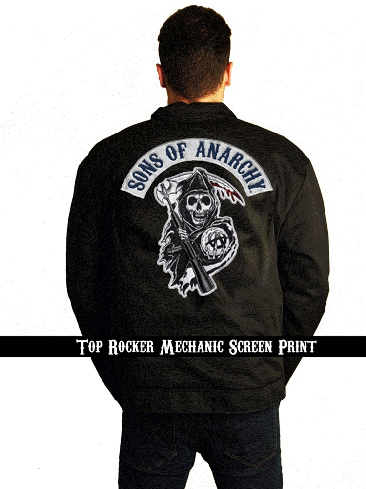 Sons of Anarchy Mechanic Screen Printed Adult Jacket