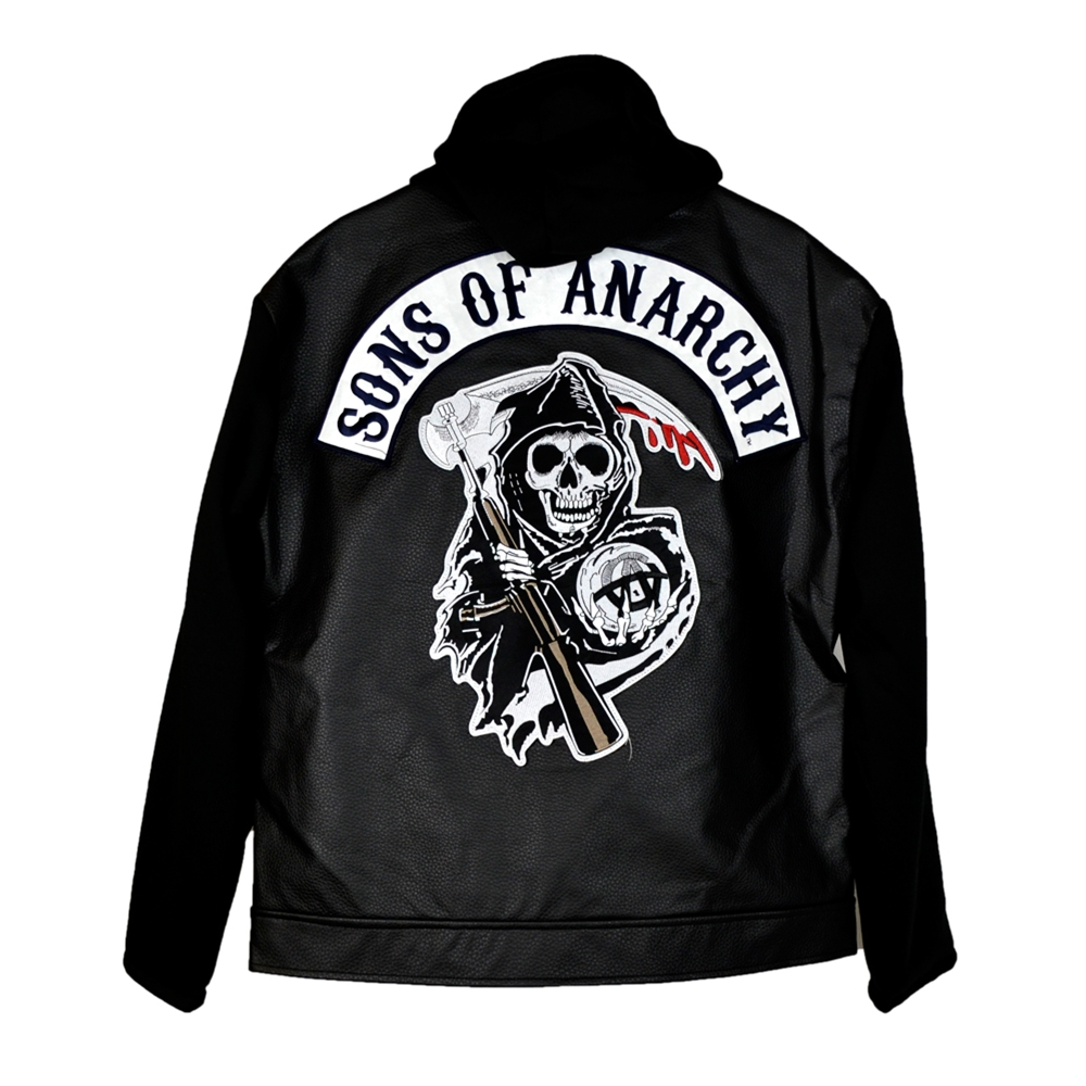 sons of anarchy faux leather adult hoodie 332808. Black Bedroom Furniture Sets. Home Design Ideas