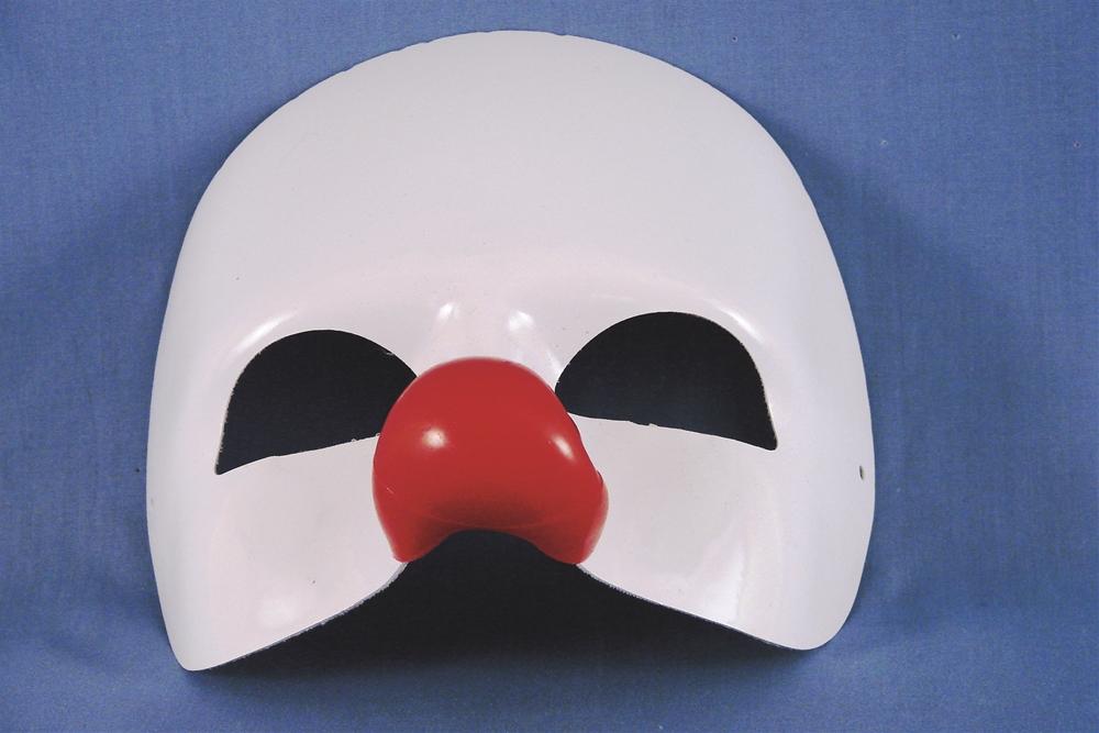 White & Red Clown Half Mask