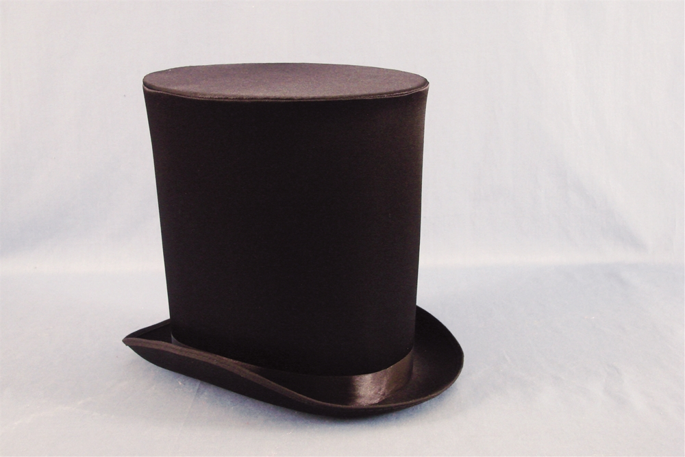 Image of Black Satin Victorian Coachman's Hat