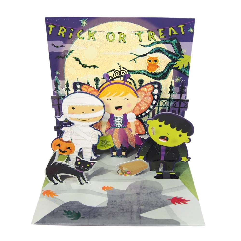 Scary Shadow Halloween Pop-Up Greeting Card