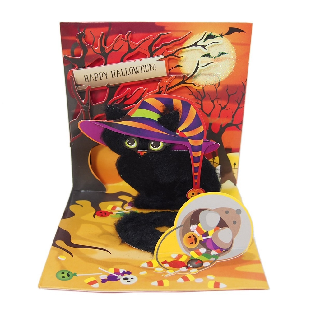 Spooky Cat Halloween Pop-Up Greeting Card