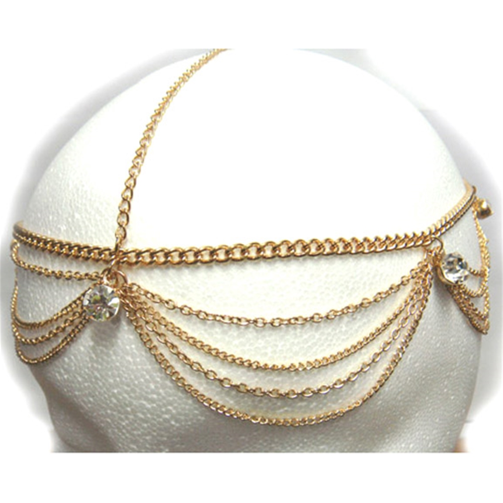Gold Head Chain with Gems