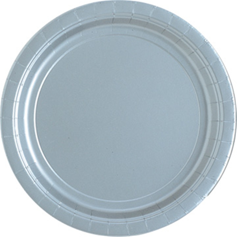 "Image of 7"" Silver Round Plates"