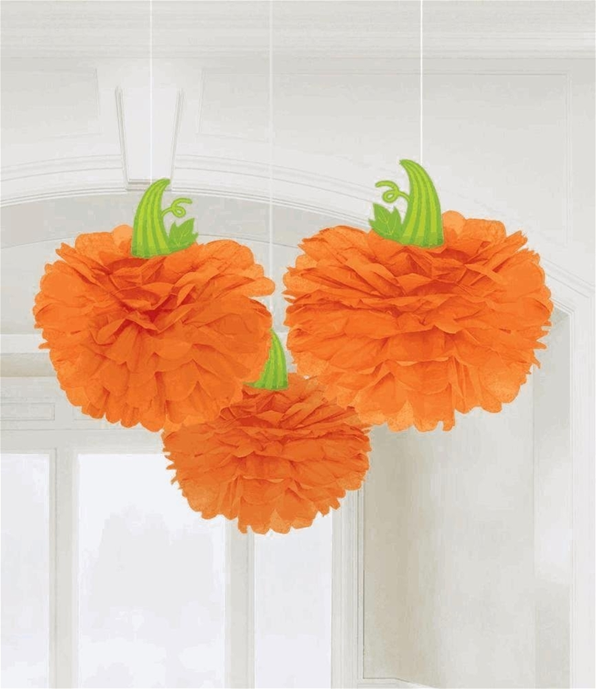 Halloween Pumpkin Fluffy Decorations 3ct