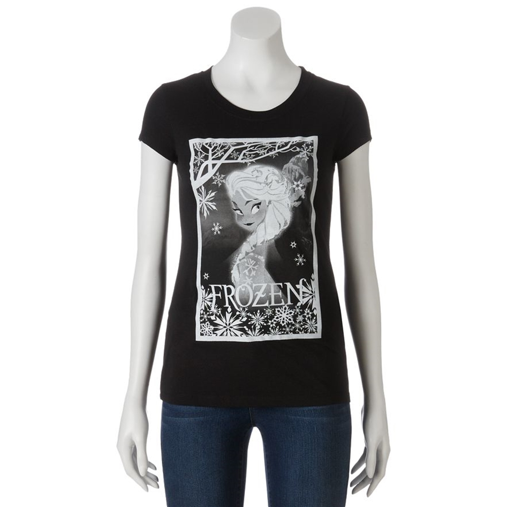Disney Frozen Elsa Black Juniors T-Shirt by Freeze (JRS)