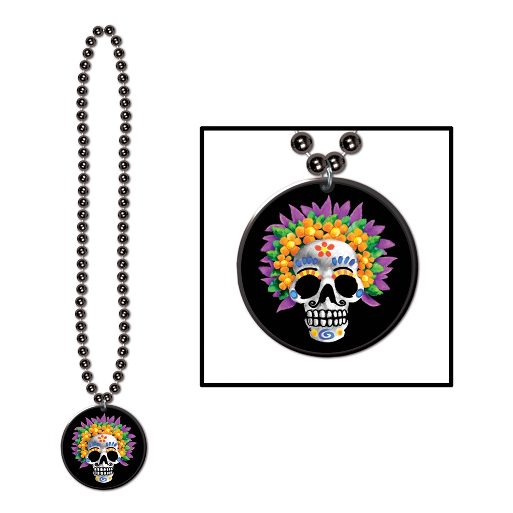 Day of the Dead Beads with Medallion