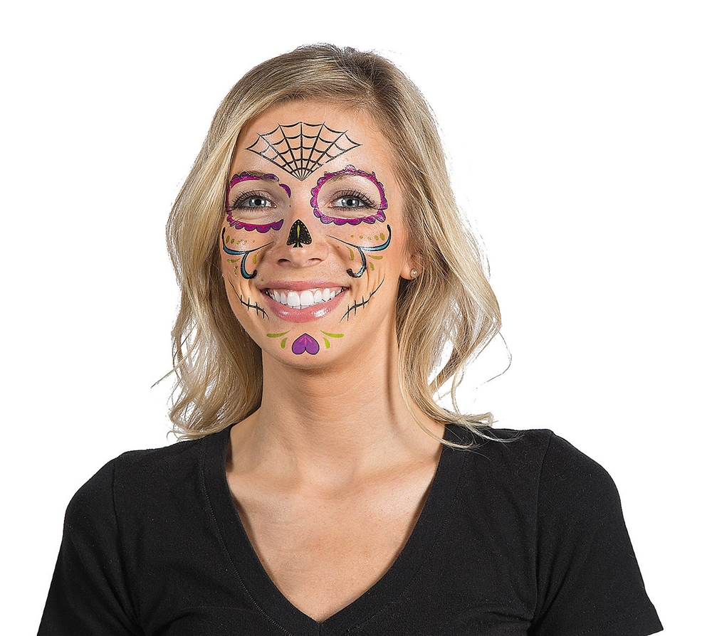 Day of the Dead Face Tattoos 9ct (Day Of The Dead Face Tattoo)