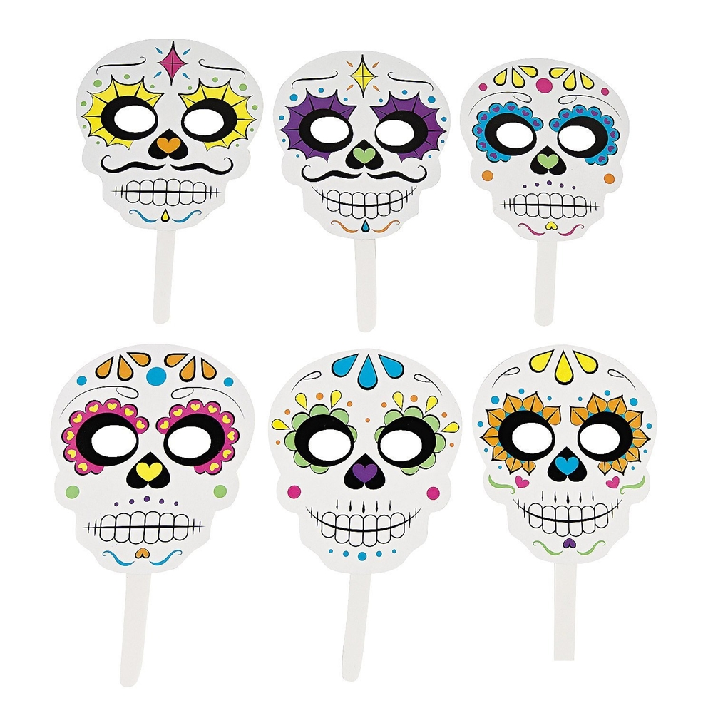 Day of the Dead Paper Stick Masks 6ct