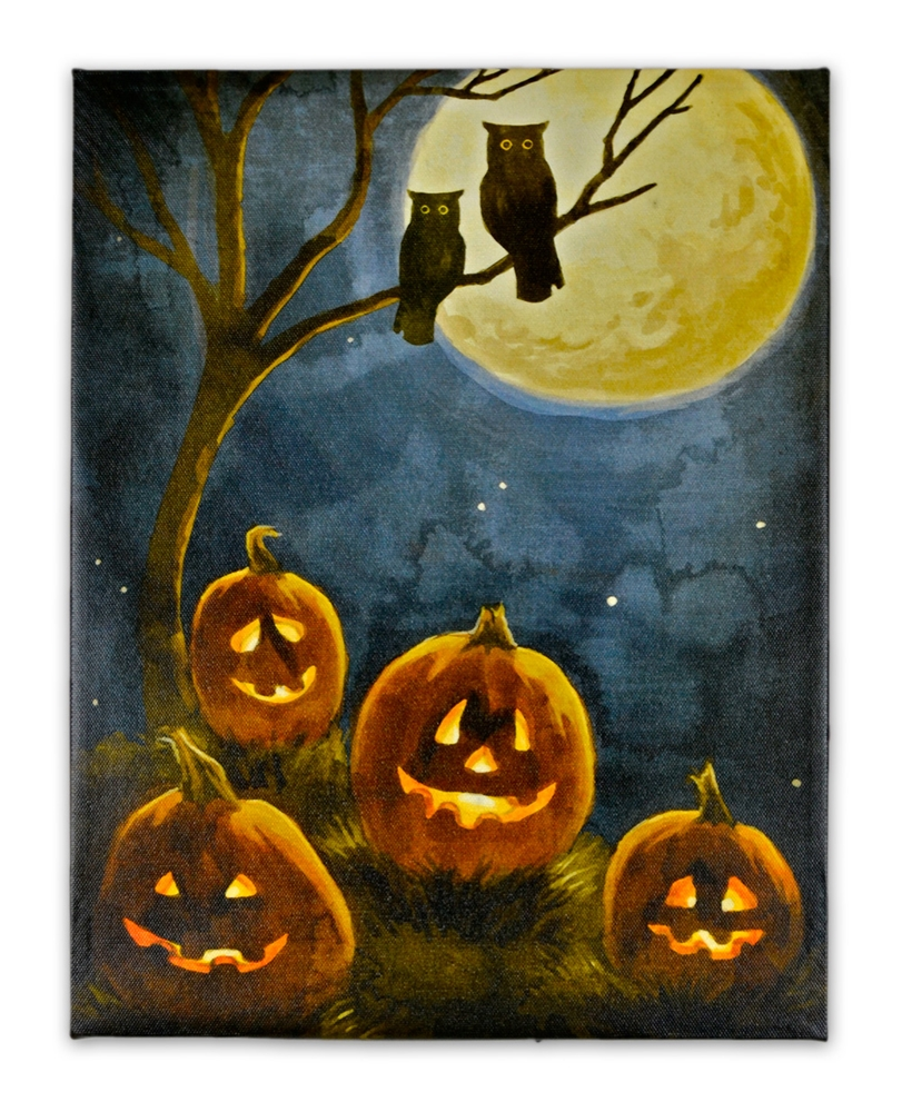 Pumpkin & Owl LED Picture