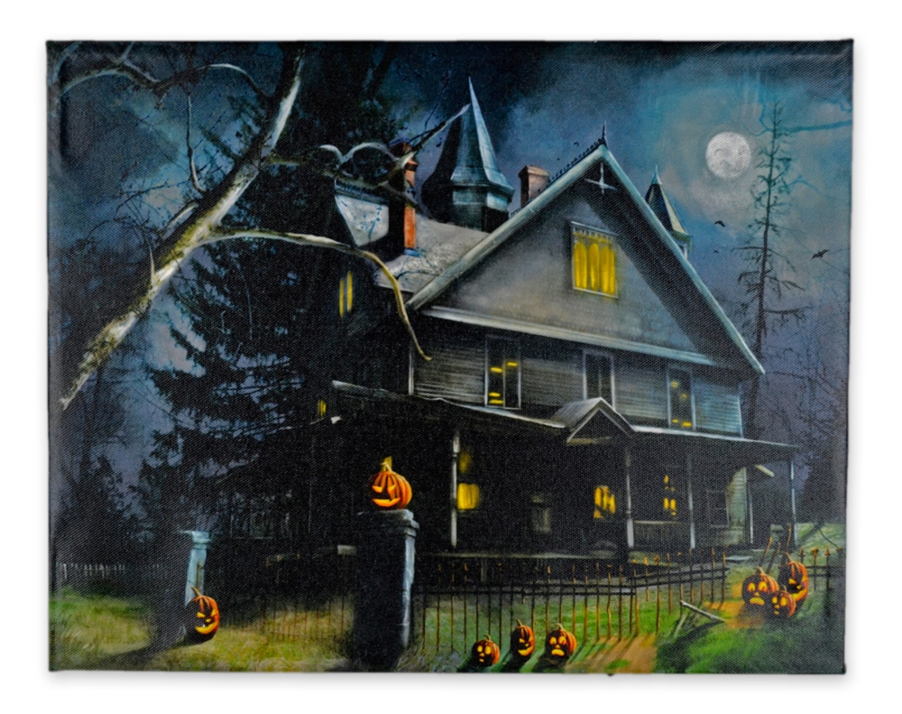 Haunted House & Fence LED Picture