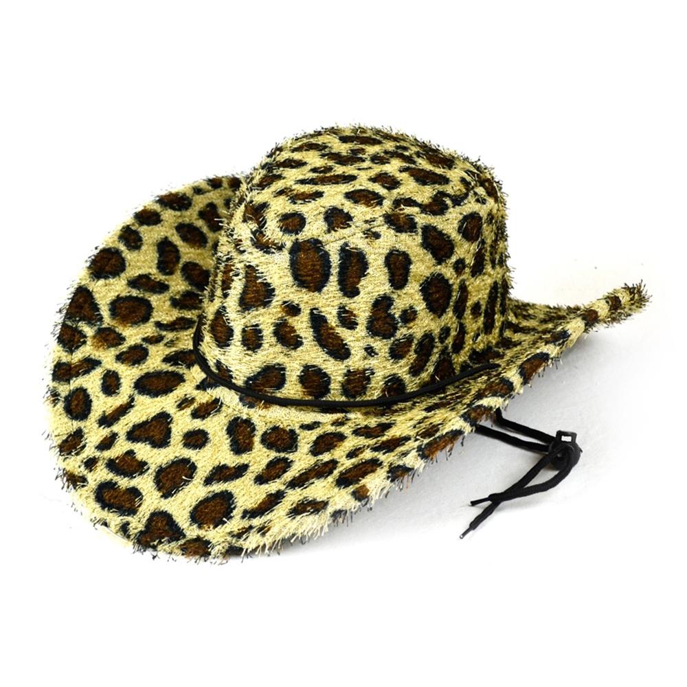 [Furry Leopard Print Cowboy Hat] (Leopard Cowboy Hat)