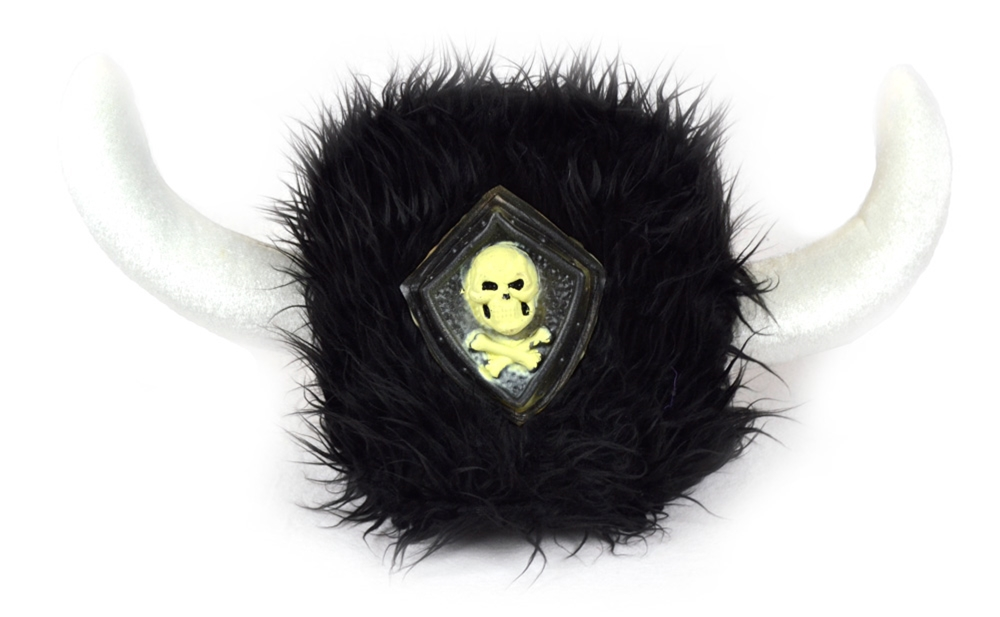 Furry Black Viking Helmet with Skull