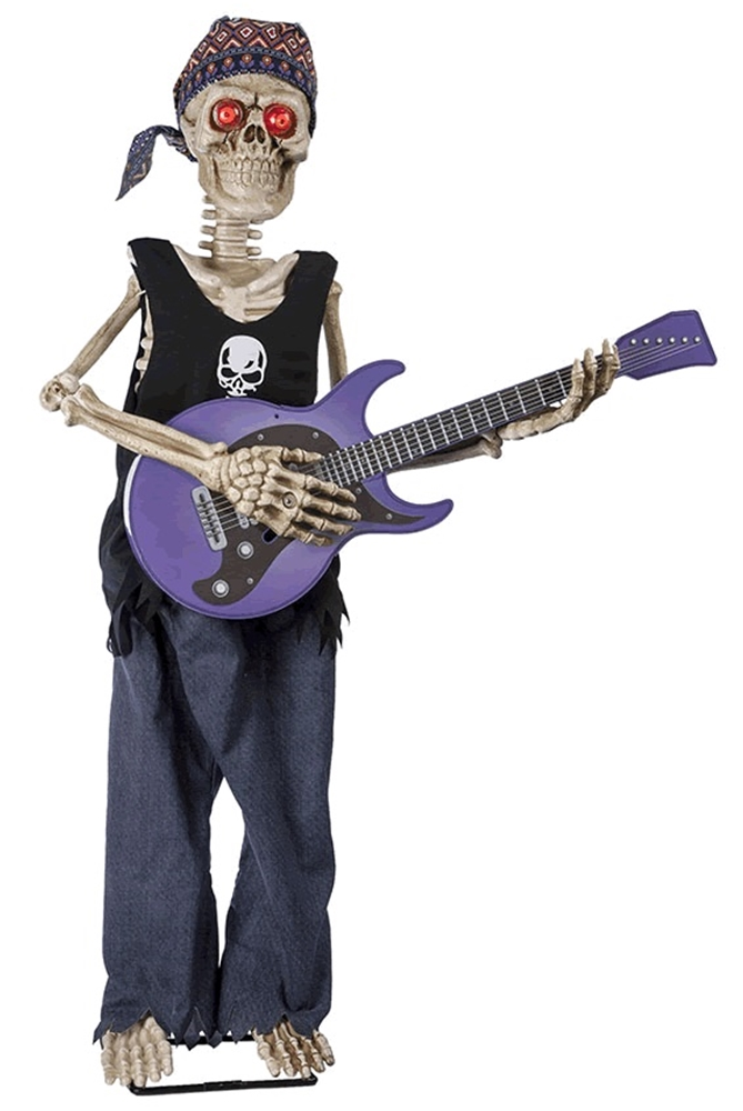 Rockstar Skeleton Playing Guitar Animated Prop