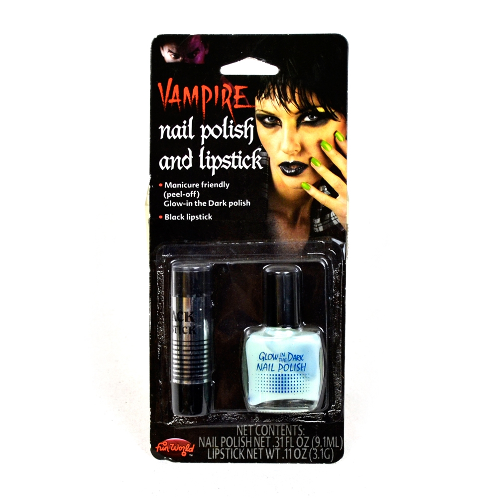 Vampire Black Glow in the Dark Nail Polish & Lipstick