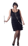Black Fashion Flapper Adult Womens Plus Size Costume