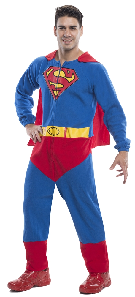 Superman Adult Mens Onesie with Cape (Superman Adult Onesie)