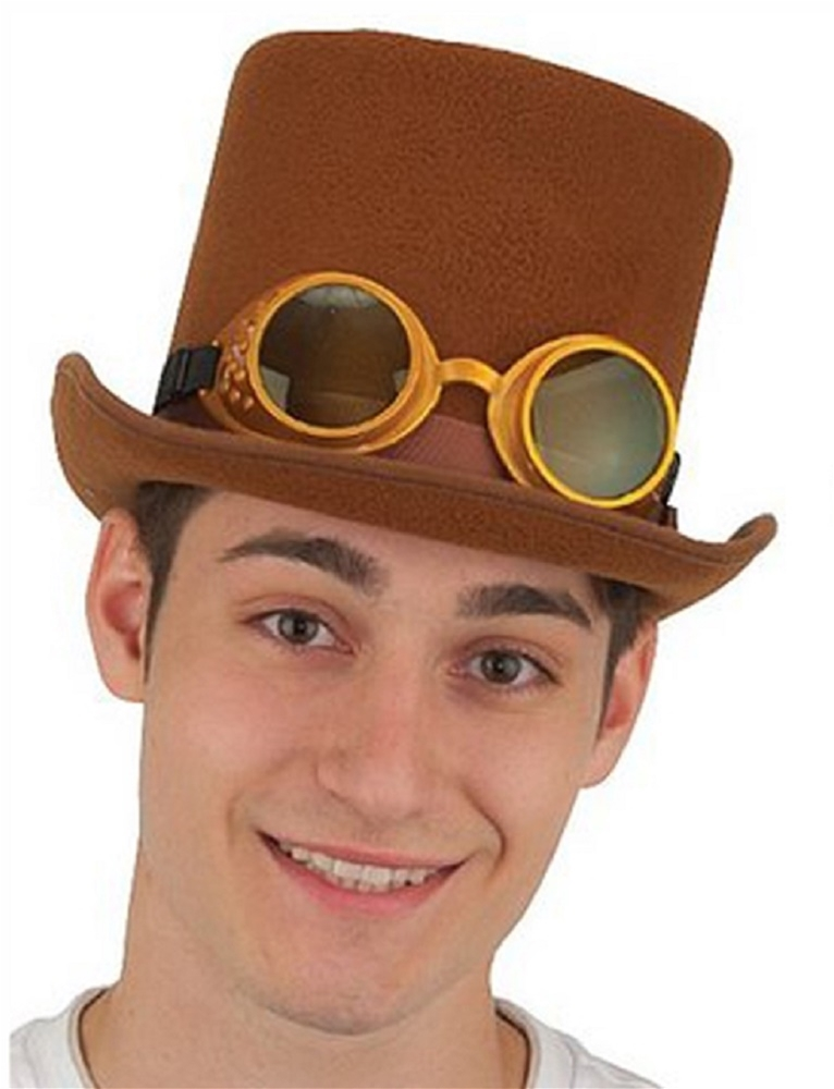 Brown Deluxe Steampunk Hat with Glasses