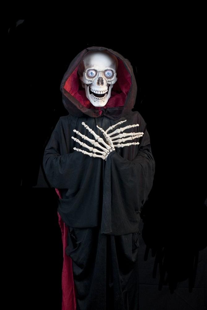 Red & Black Hooded Ghastly Reaper Prop 58in by Skeleton Store