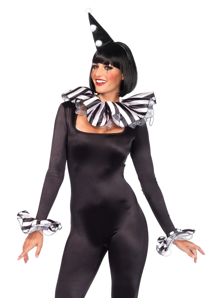 Black & White Striped Harlequin Costume Kit
